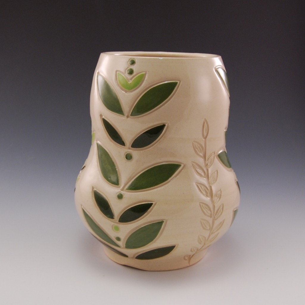 Large Green Leaf Vase