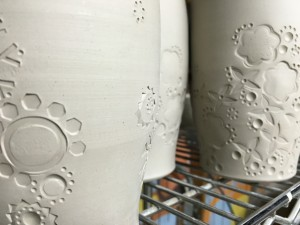 Vases waiting for their bisque